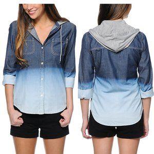 Empyre Kassie Dip Dye Ombre Denim Hooded Shirt